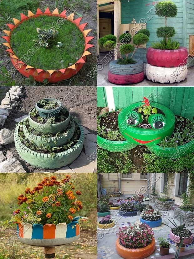 Клумбы и цветники из шин