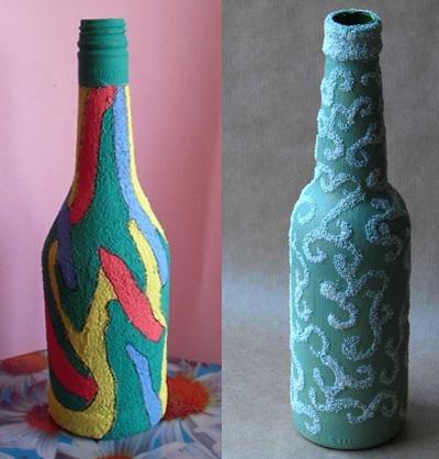 Декорировать бутылку своими руками фото