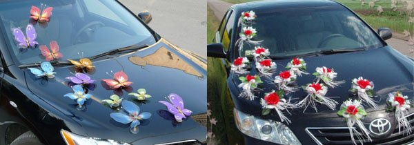 Украшение для машины на свадьбу своими руками фото